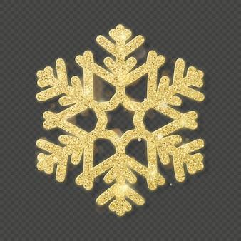 크리스마스 빛나는 골드 눈송이 오버레이 개체.