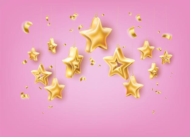 クリスマスの光沢のある黄金の星の装飾的なイラスト