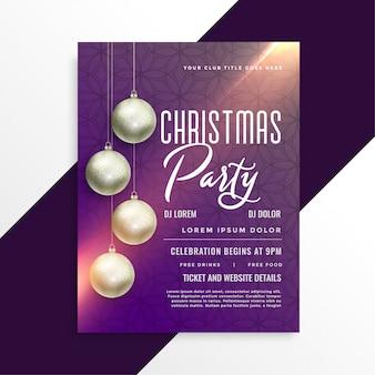 Christmas shiny party invitation flyer template
