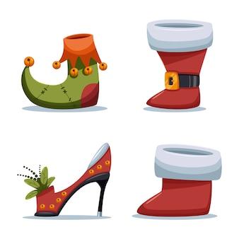Рождественские туфли санта-клаус и эльф мультфильм на белом фоне.