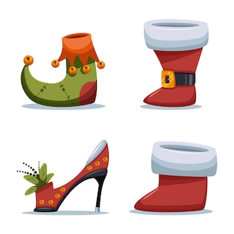 Christmas shoes santa claus and elf  cartoon set  on white background.
