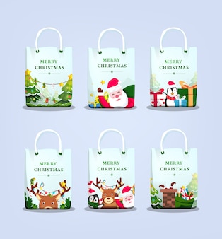 イラストセット付きクリスマスショッピングバッグ