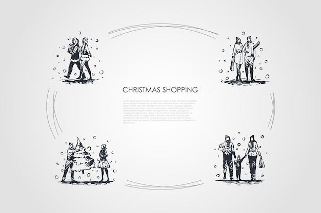 クリスマスショッピング手描きのシクル