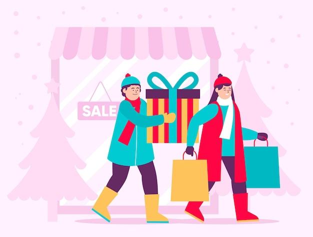 クリスマスのショッピングシーンのイラスト