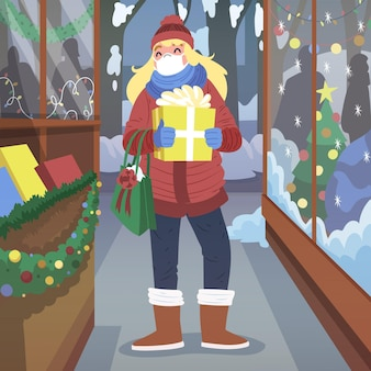 Рождественские покупки сцены - в масках