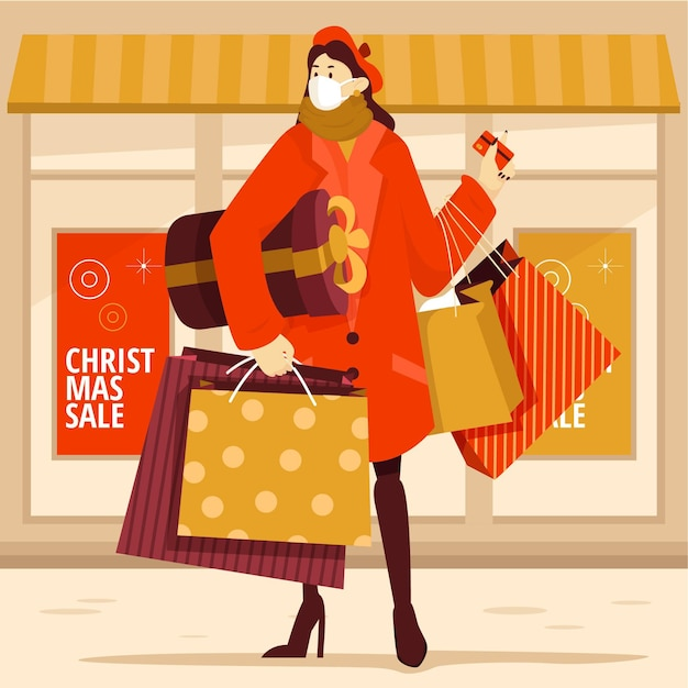 Scena dello shopping natalizio con maschera medica da portare femminile
