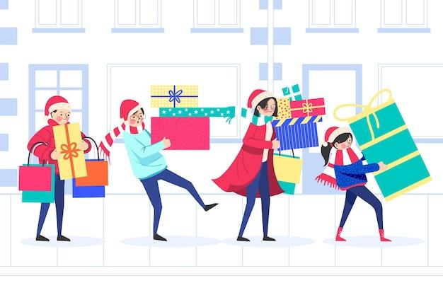 Рождественский шоппинг с подарками