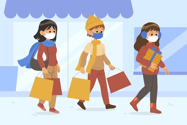Christmas shopping scene with people wearing masks