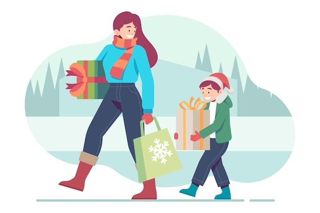 Scena dello shopping natalizio con regali