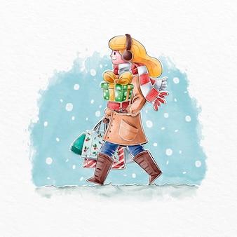 Scena dello shopping natalizio