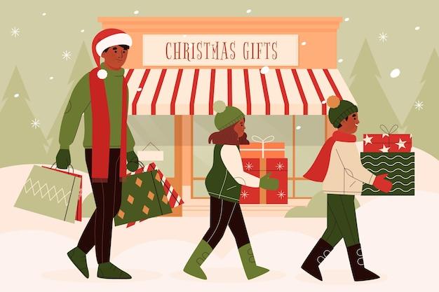 Scena dello shopping natalizio Vettore gratuito