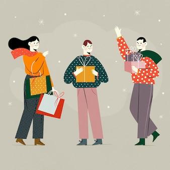 Рождественские покупки сцена