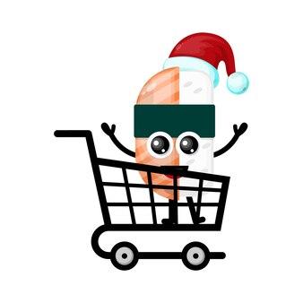 크리스마스 쇼핑 스시 귀여운 캐릭터 로고