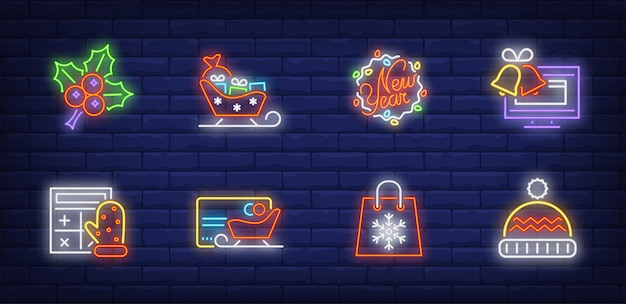 Christmas shopping symbols set in neon style