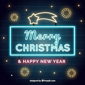 Christmas sign background of neon lights