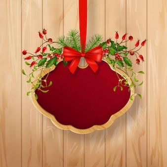 Рождественская вывеска с праздничной гирляндой и деревянной рамой
