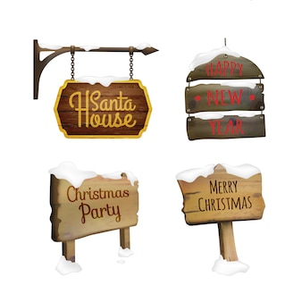 Christmas signboards set