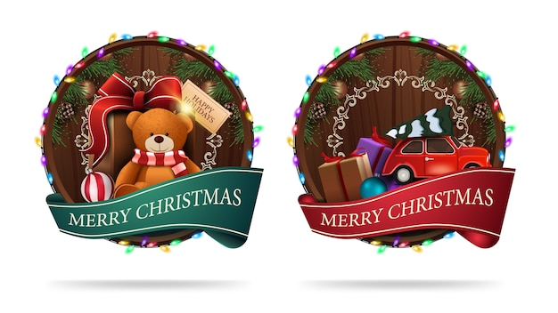 Christmas signs in the shape of a wooden barrel with a greeting ribbon and christmas icons isolated