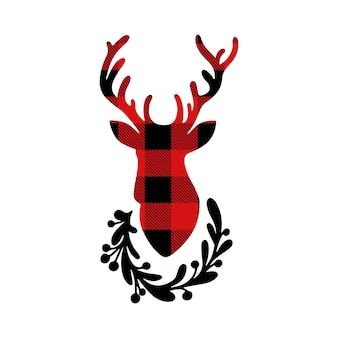 Christmas silhouette of deer red buffalo plaid with floral wreath isolated on white background