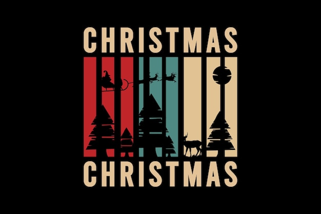 Christmas, silhouette mockup typography