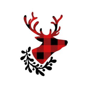 흰색 배경에 고립 된 꽃 화 환과 사슴 붉은 버팔로 격자 무늬의 크리스마스 실루엣
