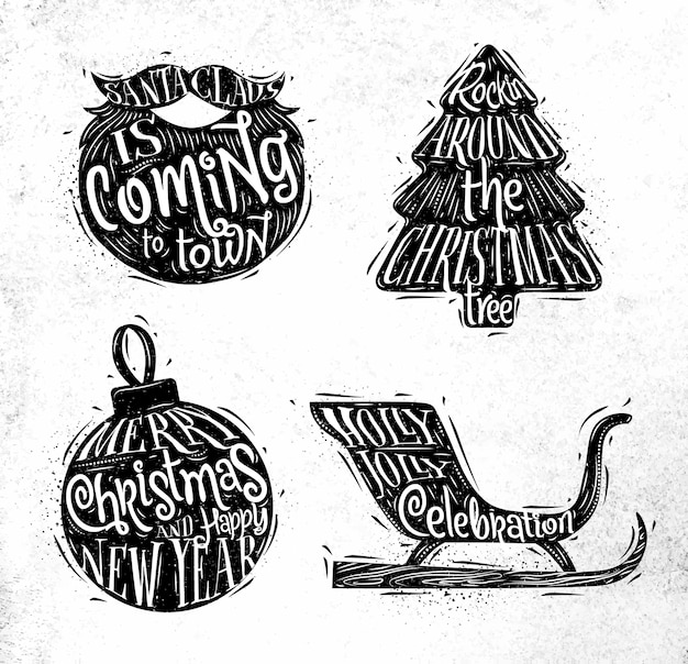 Christmas silhouettes beard