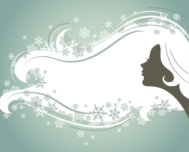 Christmas silver background with a young woman's silhouette.  illustration