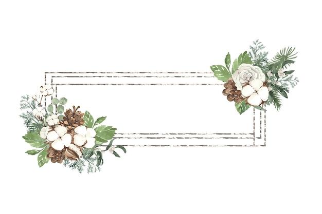 Christmas silver frame with pine needles and eucalyptus
