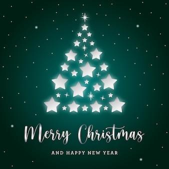 Рождественская серебряная елка с блеском и звездами на зеленом фоне