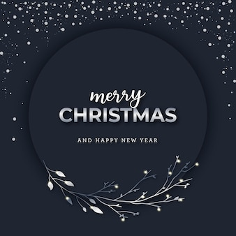 Christmas silvery banner on dark snowy background