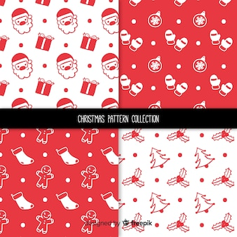 Рождественская коллекция простых образцов Бесплатные векторы