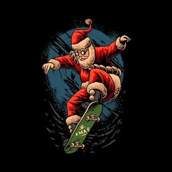 Christmas skateboarding santa illustration
