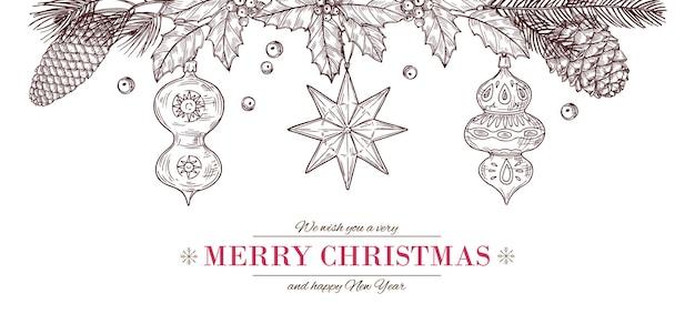크리스마스 스케치 배너입니다. 메리 카드 그리기, 솔방울과 유리 장난감이 있는 겨울 포인세티아 포스터. 전나무 나뭇 가지 벡터 일러스트와 함께 새 해 빈티지 새겨진 휴가 테두리 프레임