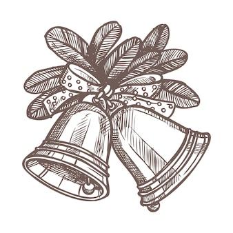 鐘、モミの枝、手描きスタイルの弓でクリスマススケッチ。お祝いの新年の装飾