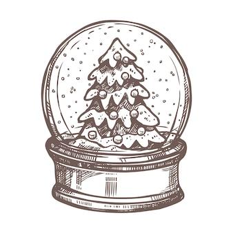 Snowglobe와 크리스마스 트리 크리스마스 스케치. 손으로 그린 스타일. 축제 새해 장식