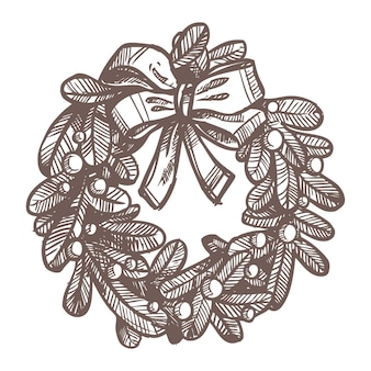 Christmas sketch of wreath.  hand drawn style. festive new year decoration