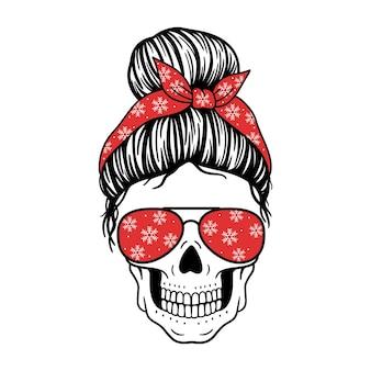 Christmas skull female skull with aviator glasses bandana and snowflakes  print