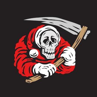 Christmas skull grim reaper vector illustration