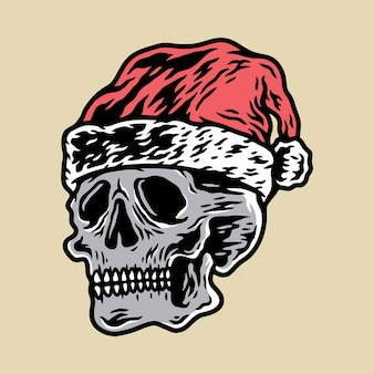 Christmas skull illustration