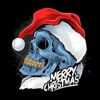 Рождественский череп в шляпе санта-клауса
