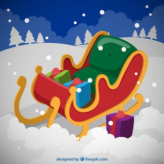 Christmas sled on the snow illustration