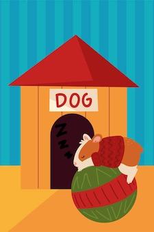 Christmas, sleeping hamster on ball house pet illustration