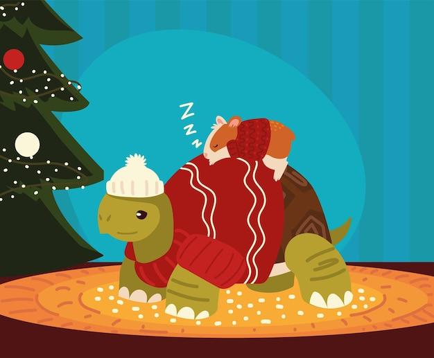 Рождество, спящий хомяк на черепахе с празднованием дерева Premium векторы
