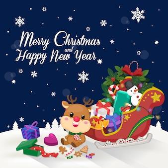 Christmas sleigh on dark navy background