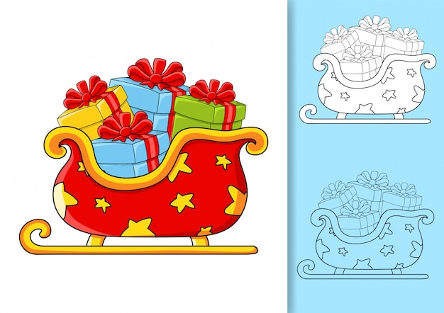 Christmas sleigh santa claus with gifts.