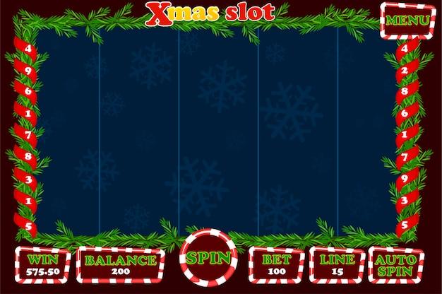 Рождественский слот, игровой интерфейс и кнопки. полное меню для игры в казино.