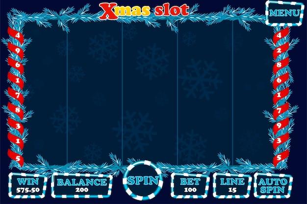 Рождественский слот, игровой интерфейс и кнопки синего цвета. полное меню для игры в казино. объекты на отдельном слое.