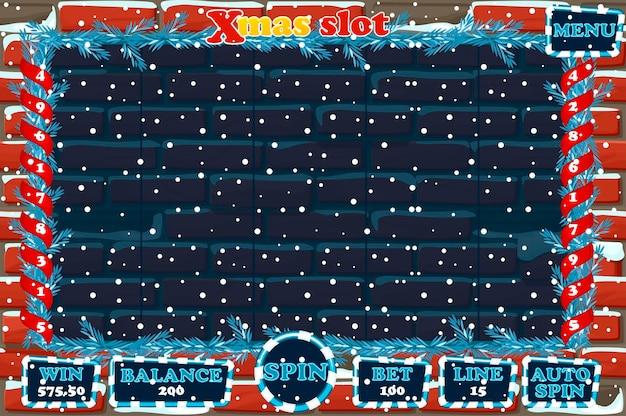 Рождественский слот, интерфейс пользовательского интерфейса игры и кнопки на каменном фоне. полное меню для игры в казино.