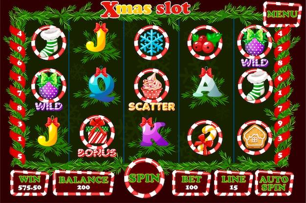 Рождественский слот, игровой интерфейс и значки.
