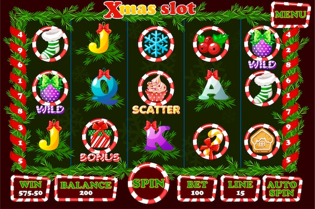 Christmas slot, game ui interface and icons.